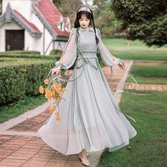 Leonnah - Puff-Sleeve Cutout Midi A-Line Dress
