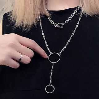 PANGU - Alloy Hoop Pendant Layered Necklace