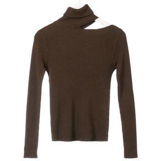 Ikas(イカス) - Off-Shoulder Turtleneck Plain Knit Top