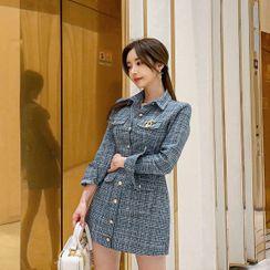 Babi n Pumkin - Button-Front Tweed Minidress