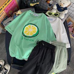 子俊 - 水果印花短袖寬鬆T裇/抽繩運動短褲(多款設計)