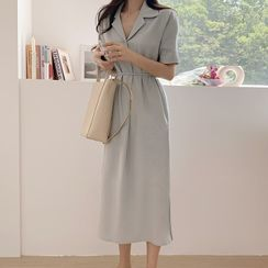 Leoom - Short-Sleeve Tie-Waist Midi Shirtdress