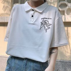 Dreamkura - Elbow-Sleeve Graphic Print Polo Shirt