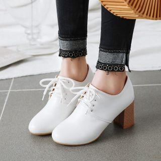 Shoes Galore - Block Heel Lace-Up Shoes