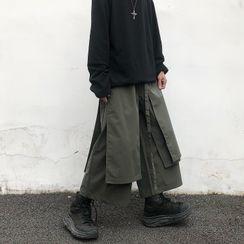 Koiyua - Mock Two-Piece Wide Leg Cropped Pants