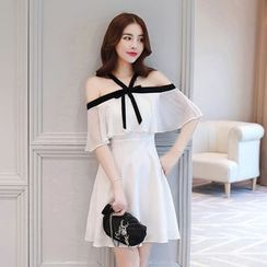 Louise - Elbow-Sleeve Cold Shoulder Ruffled A-Line Dress