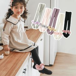 Cloud Femme - Kids Bow-Accent Knit Tights