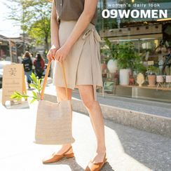Seoul Fashion - PLUS SIZE Tie-Waist Wrap Front Skort