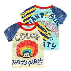 Seashells Kids - Kids Contrast Color Cartoon Print Short-Sleeve T-Shirt