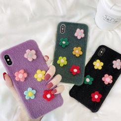 OUROBA - 法兰绒花朵手机保护套 - iPhone 11 Pro Max / 11 Pro / 11 / XS Max / XS / XR / X / 8 / 8 Plus / 7 / 7 Plus / 6s / 6s Plus