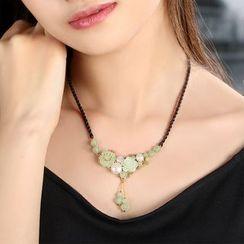 Gangnam - 復古珍珠及花朵吊墜項鏈
