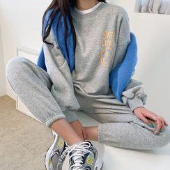 DABAGIRL - Smiley Print Sweatshirt & Sweatpants Set