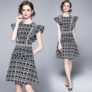 Yonna - Sleeveless Floral Print A-Line Dress