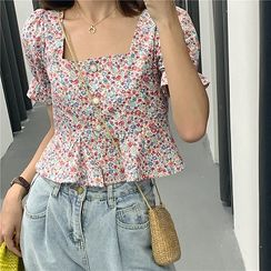 Essere - Floral Square-Neck Puff-Sleeve Blouse