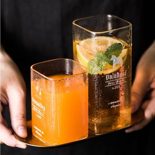 Cassandra - Lettering Square Glass Drinking Cup / Stirrer (various designs)