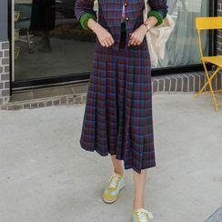 LEELIN(リーリン) - Pleated Plaid Skirt