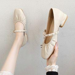 Novice - 粗跟仿珍珠玛莉珍鞋