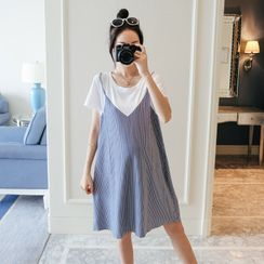 Clover Dream - Maternity Mock Two-Piece Short-Sleeve Mini A-Line Dress