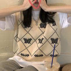 PINPI - V-Neck Butterfly Embroidered Sweater Vest