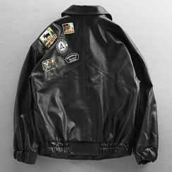Wild Dragon(ワイルドドラゴン) - Faux Leather Badged Button-Up Jacket