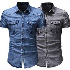 Hansel - Pocketed Short Sleeve Denim Shirt