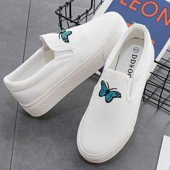 BearBus - Butterfly Embroidered Platform Slip-Ons