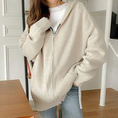 Seoul Fashion - Drop-Shoulder Knit Hoodie
