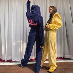 LIPHOP - Drawstring-Waist Terrycloth Wide-Leg Pants