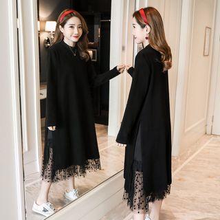 Empressa - Maternity Long-Sleeve Tulle-Panel Midi Dress