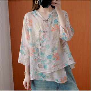 ZIMO(ジーモ) - Floral Frog-Button 3/4-Sleeve Blouse