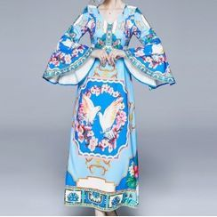 Seire - Pigeon Print Flared-Sleeve Maxi A-Line Dress