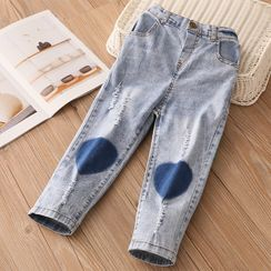 Seashells Kids - Kids Heart Patch Straight-Fit Jeans