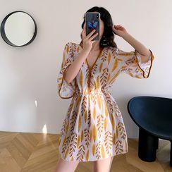 Aluli - Set: Crisscross Swim Top + Bottom + Leaf Print Bell-Sleeve Mini Dress