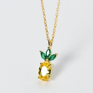 A'ROCH(エーロック) - 925 Sterling Silver Rhinestone Pineapple Pendant Necklace