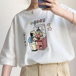Cerauno - Short-Sleeve Cartoon Print T-Shirt