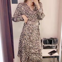 Zazadoll - Long-Sleeve Leopard Print Midi A-Line Dress