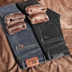 Denimic - 抓毛内衬窄身牛仔裤