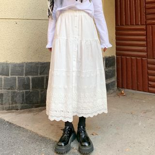 Dute - Lace-Trim Buttoned Midi Skirt
