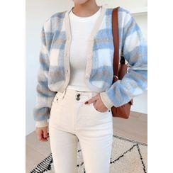 chuu - Plaid Fuzzy Knit Crop Cardigan