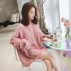 Oykot - Frill-Trim Cut Out Knit Hoodie