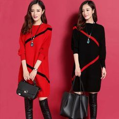 Tiny Times - Contrast Trim Sweater Dress