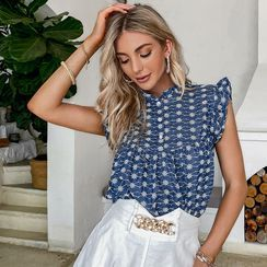Simplee - Sleeveless Floral Print Blouse