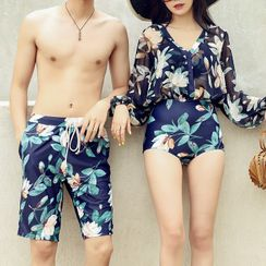 Salanghae - Couple Matching Floral Print Long Sleeve Swimsuit / Bikini Top / Swim Shorts