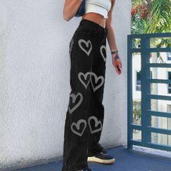BrickBlack - Heart Print Straight-Fit Jeans