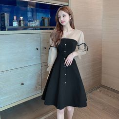 Petit Lace - Long-Sleeve Mesh-Panel Dress