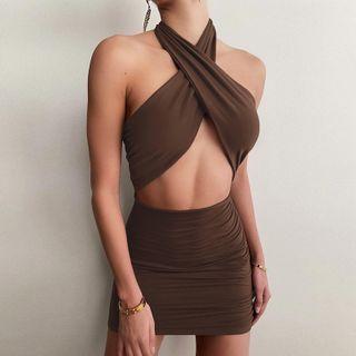 Kobeque - Halter-Neck Cutout Mini Body-Con Dress
