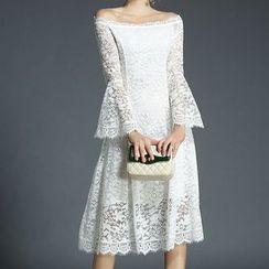 Seire - Off Shoulder Lace Long Sleeve Midi Dress