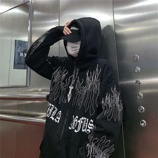 Giuliana - Front Pocket Lettering Hooded Zip Sweatshirt