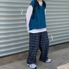 Chuoku - Plaid Wide-Leg Pants