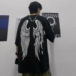 Blackcola - Elbow-Sleeve Wing Print T-Shirt